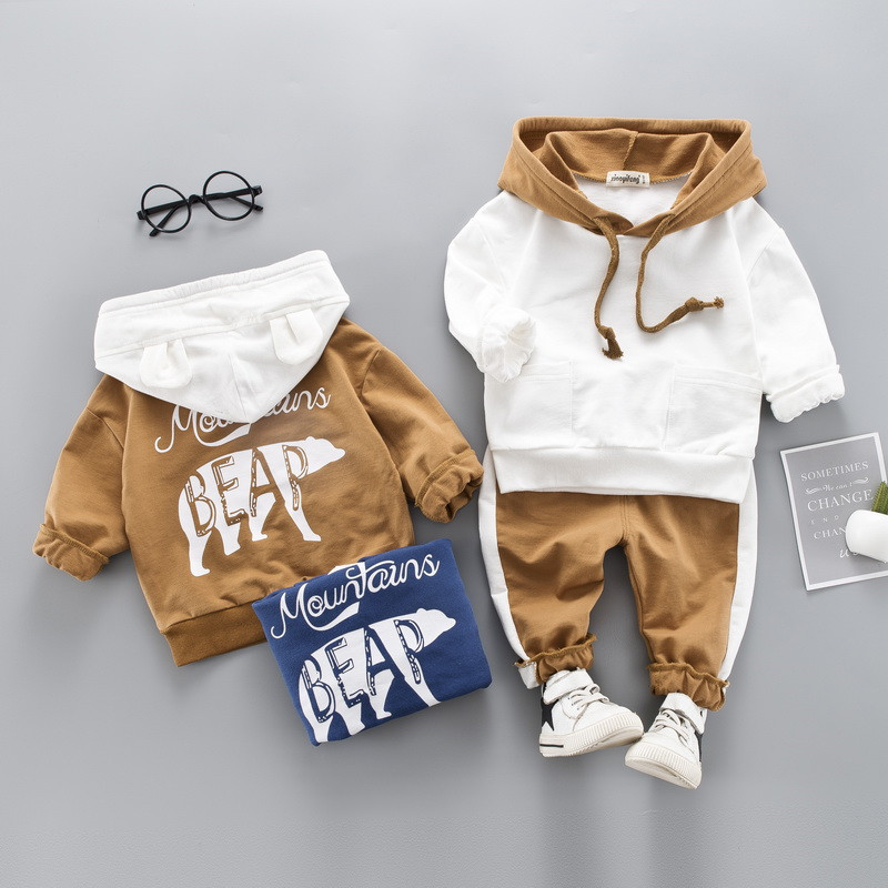 0-4 years High quality boy girl clothing set 19 new spring sport active solid kid suit children baby clothing Hoodies+pant 2