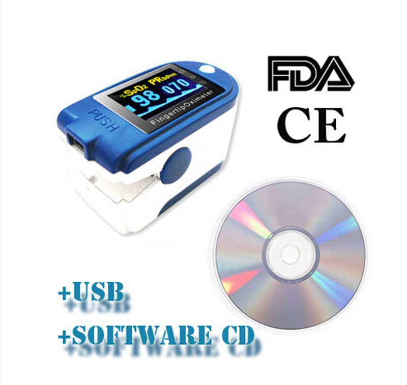 Fingertip Pulse Oximeter with CD Software oximetro de dedo Pulse Rate,SPO2 Alarm Monitor Home Health Care diagnostic-tool CE FDA color oled wrist fingertip pulse oximeter with software spo2 monitor