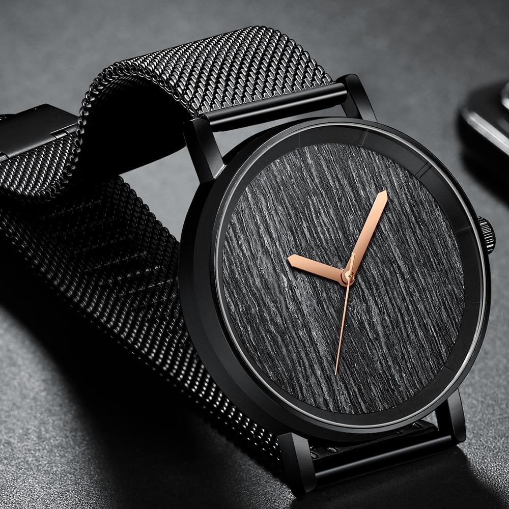 Luxury Men Watch Fashion Minimalist Wooden Bezel Quartz Watch Ultra Thin Stainless Steel Watch For Male Relogio Masculino