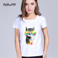 PyHenPH Brand T shirts women Cat with Sunglasses t shirt Women harajuku