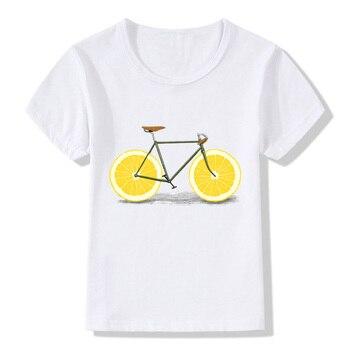 Fruta bicicleta diseño niños camiseta divertida niños niñas dibujos animados bicicleta verano Tops camiseta bebé niños ropa Casual, HKP5178