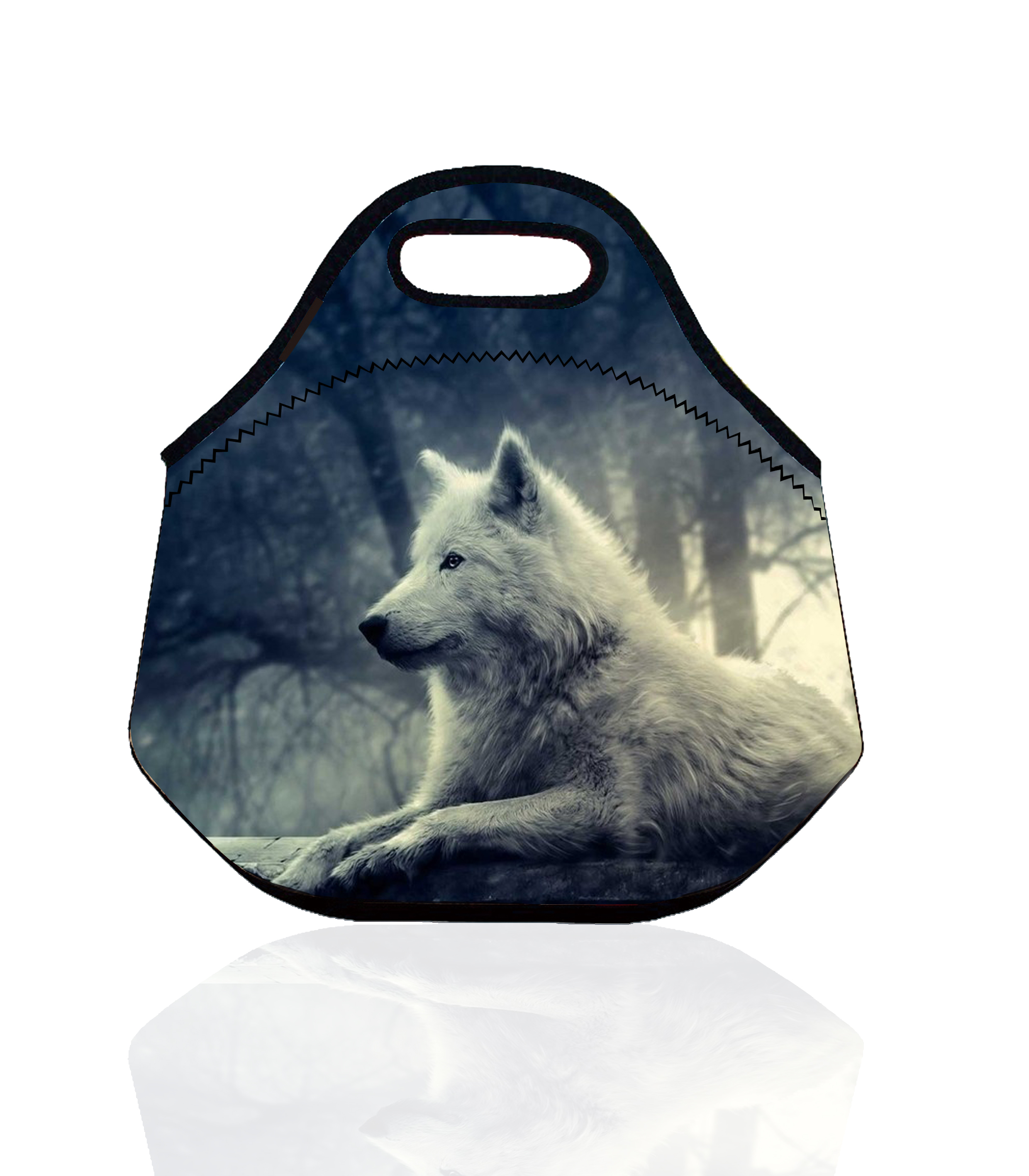 Cute Wolf Portable Insulated Storage Bag Thermal Food Picnic Lunch Bags for Women kids Men Animal Lunch Box Bag bolsa termica