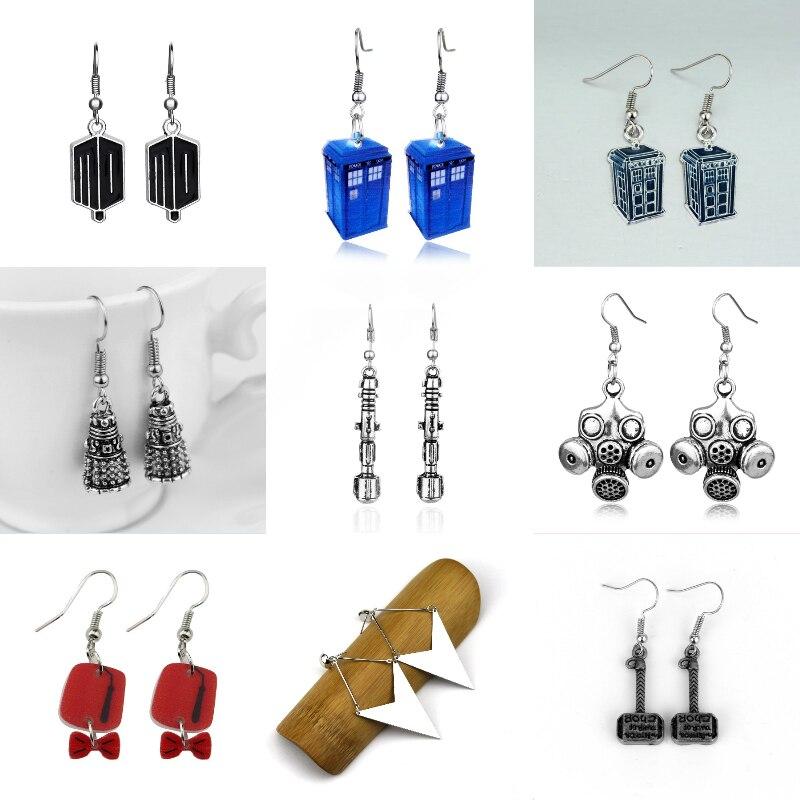 Doctor who earrings Doctor Who Blue Tardis Dangle Earrings DALEK EARRINGS Sonic Screwdriver Earrings