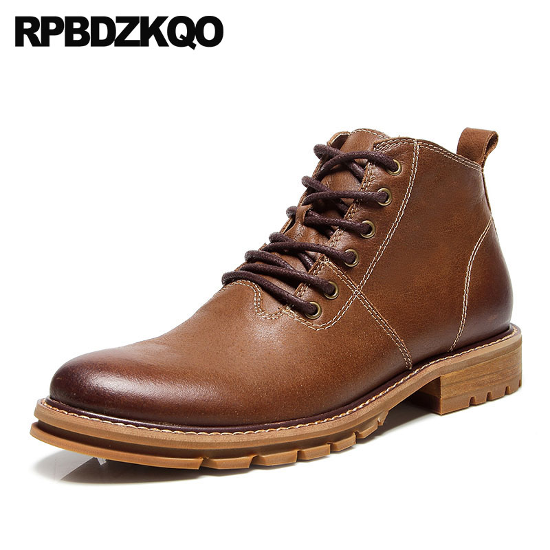 Boots Autumn Ankle High Top Genuine Leather Booties Lace Up Army Full Grain Chunky Military Mens Shoes Combat Vintage BrownBoots Autumn Ankle High Top Genuine Leather Booties Lace Up Army Full Grain Chunky Military Mens Shoes Combat Vintage Brown