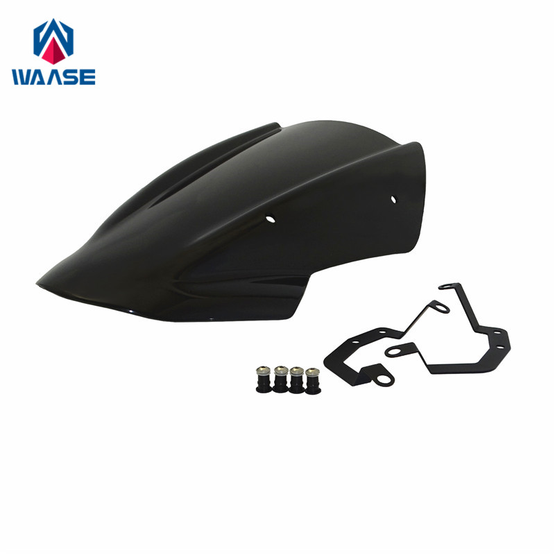 waase For Kawasaki Z650 2017 2018 2019 Windscreen Windshield Shield Screen with Bracket