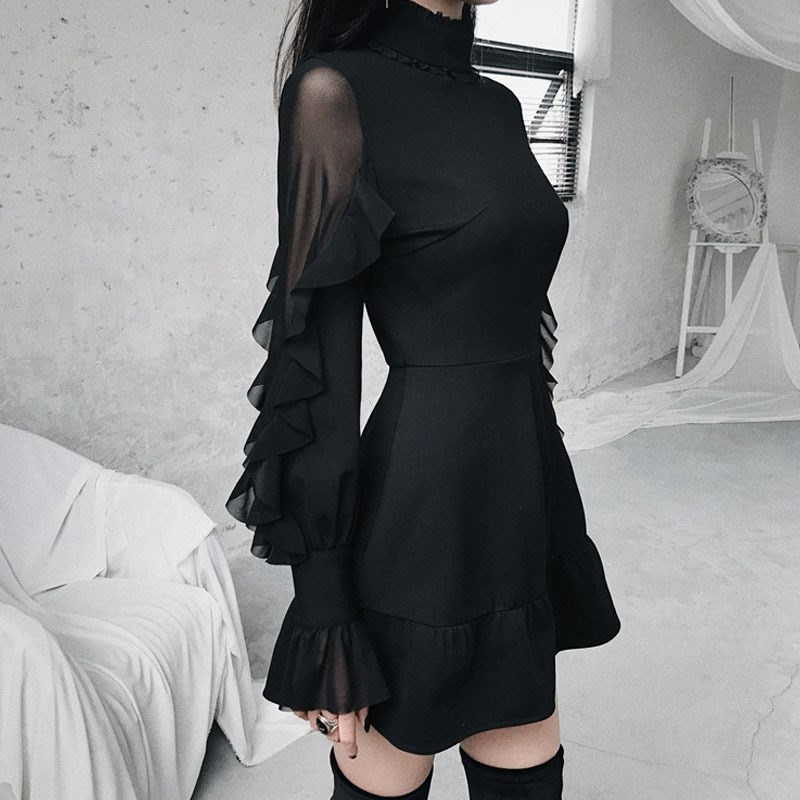 2019 été femmes papillon manches Mini robe Style Punk gothique Stand volants cou robe noire taille haute a-ligne robes Sexy - 4