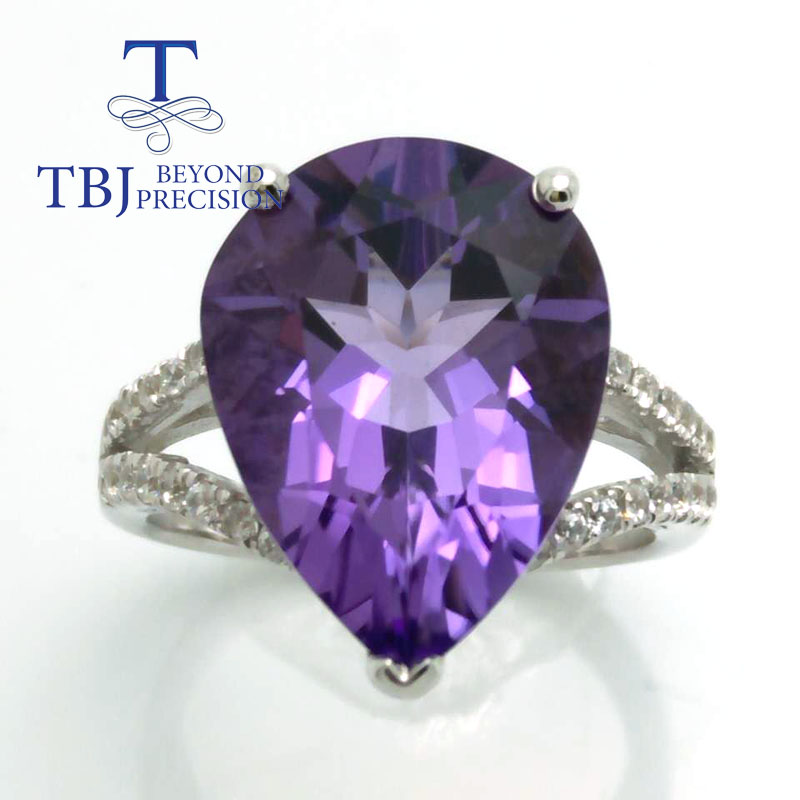 TBJ ,big size of natural brazil amethyst pe12*16 gemstone ring in 925 sterling silver jewelry,Big ring for ladies with gift box