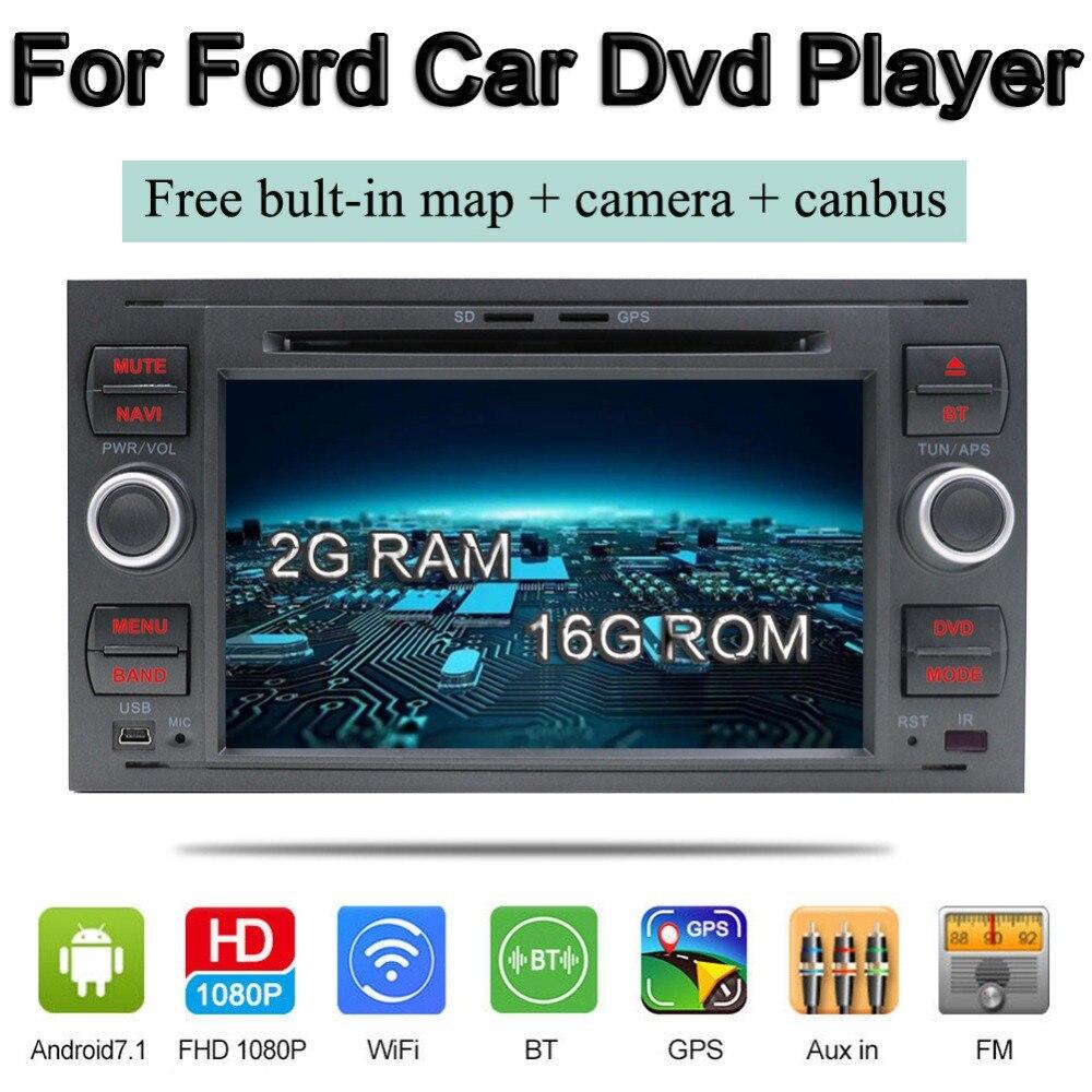 Bosion 2din android 7.1 radio voiture pour focus s-max connecter mondeo voiture lecteur dvd avec gps navi FM BT voiture stéréo caméra canbus