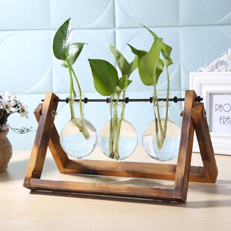 De vidrio y madera florero jardinera terrario mesa de escritorio de cultivo hidropónico planta Bonsai flor maceta colgando macetas con bandeja de madera decoración para el hogar