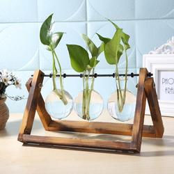 Glass and wood Vase Terrarium Tabletop Hydroponics Plant Bonsai Flower Pot with Wooden Tray 3choices available home Decor