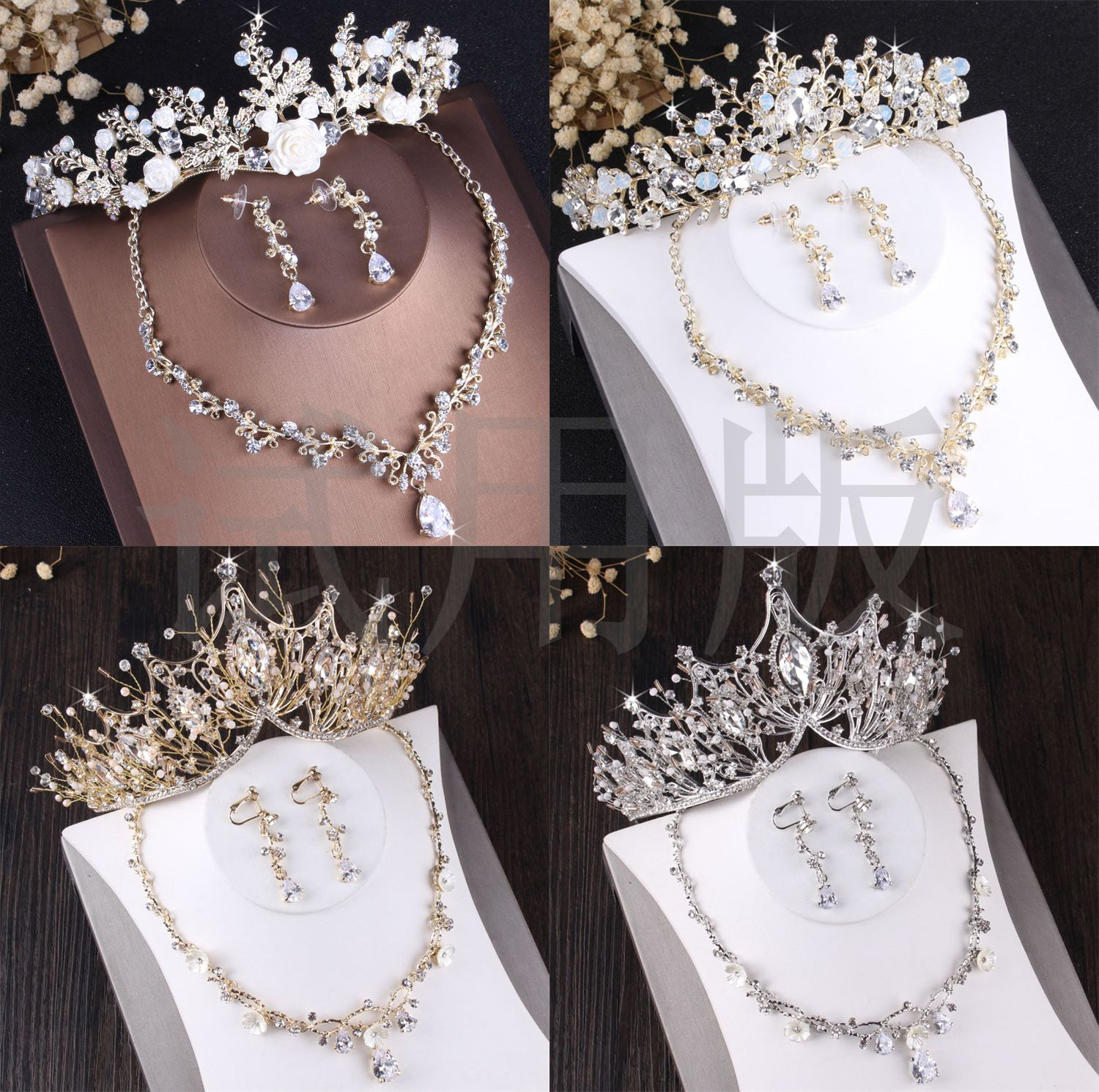 high-end gold white tiara necklace hair bride wedding jewelry sets and accessories