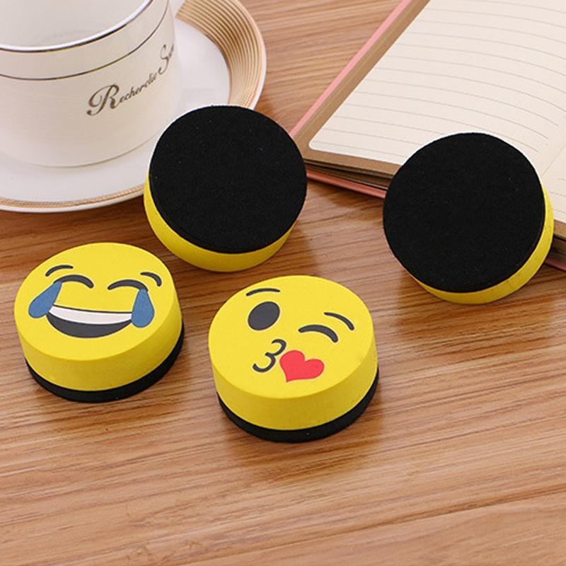 8PCS Yellow Smile Face Whiteboard Eraser Magnetic Board Erasers Wipe Dry School Blackboard Marker Cleaner 4 Styles Randomly Sent