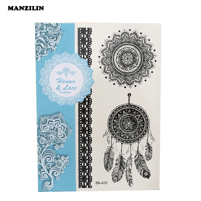 Bh1704 1 Piece Black Henna Cuff Tattoo With Flower Wrist: Aliexpress.com : Buy 1PC Fashion Flash Waterproof Tattoo