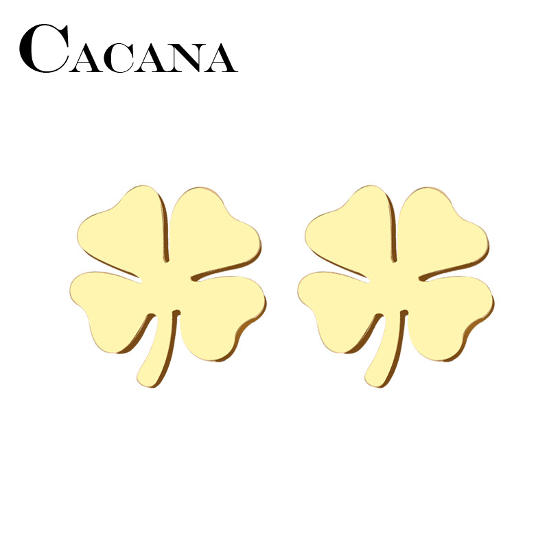 CACANA Stainless Steel Stud Earring For Women Man Clover Gold And Silver Color Lovers Engagement Jewelry Drop Shipping
