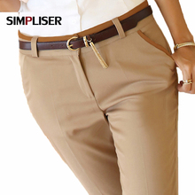 High quality women formal office work trousers black beige ladies business pencil pants plus size female Suit pants 2019 Pa