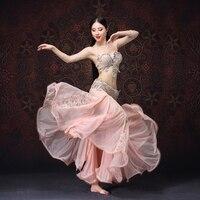 Высокого качества для восточного танца сценическая танцевальная одежда сексуальные кружева танец живота костюм с бусинами браллет и юбка