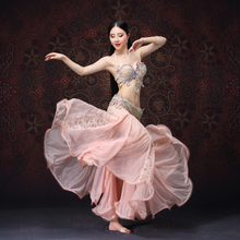 high grade for Oriental Dance Stage Wear Clothes Outfits Sexy Lace Belly Beaded Costume Bra Belt Skirt plus size XL