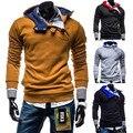 2015 Nova Marca Zíper Oblíqua Além Disso 3XL Mens Hoodies & Camisolas de Lã Pullover Com Capuz Treino Chandal Hombre
