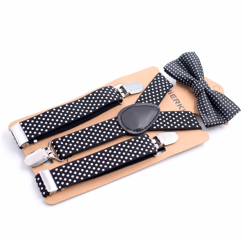 Color dots Childrens Cute Straps Childrens Fashion lovely Bow Tie Straps New Hot Kids 3 Clip Y-Back Suspenders Braces
