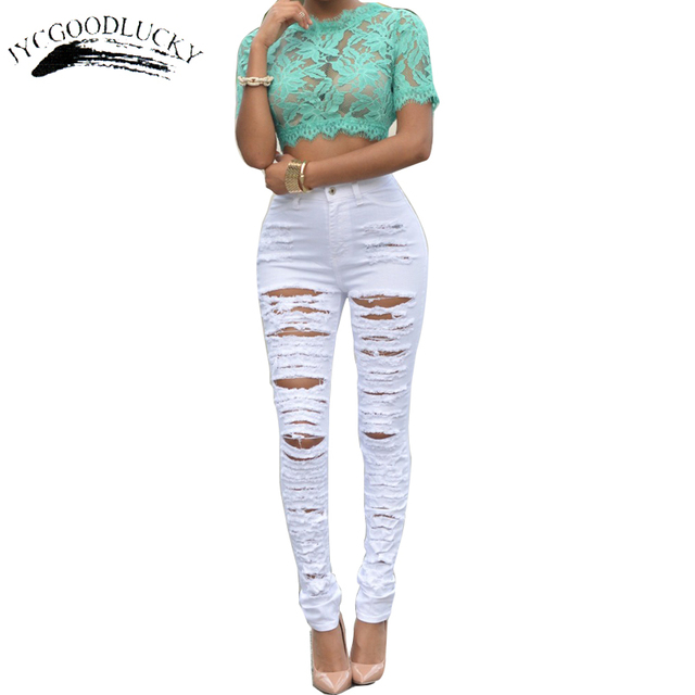 7602cfe99f Ripped Jeans For Women Fashion Slim High Waist Jeans Woman 2017 White And  Black Jeans Sexy Torn Calca Jeans Feminino Pants