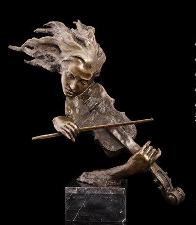 2019 accueil salon mur TOP décor ART--61 CM musique fou violon bronze statue sculpture décoration laiton décoratif