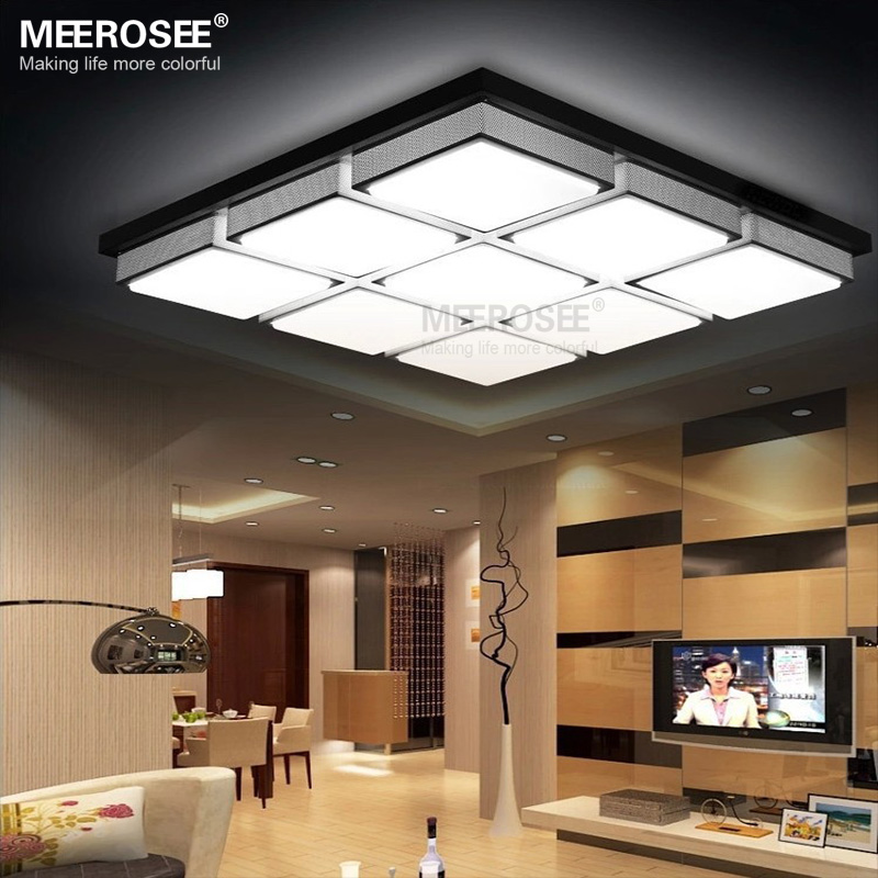 Square led acrylic light fixtures black ceiling lamp for - Lamparas de techo para comedor ...