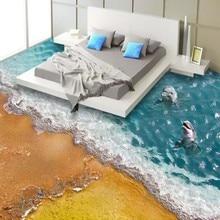 Papel де parede 3D самоклеющиеся этаж настенная живопись обои пляж море спальня гостиная полы дельфин росписи обоев