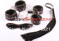 100% leather sex toys restraint sex kit for couples sex game bedroom leather sex adult product hand cuffs blindfold leather whip
