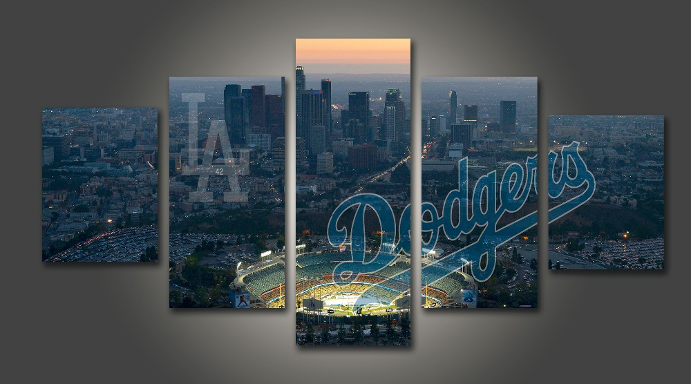 Hd print baseball los angeles dodgers fans painting on for Modern home decor los angeles