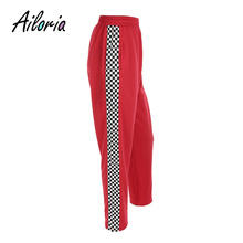 Фотография Ailoria Women 2017 Fashion Brand Pantalon Femme Side Checkerboard Sweatpants Red Knitted Womens Trousers Casual Loose Lady Pants