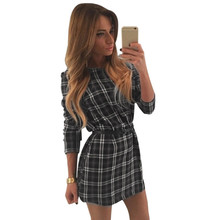 2016 Women Casual Plaid Dresses Long Sleeve Cotton Tartan Blouse Shirt Mini Dress SV028541