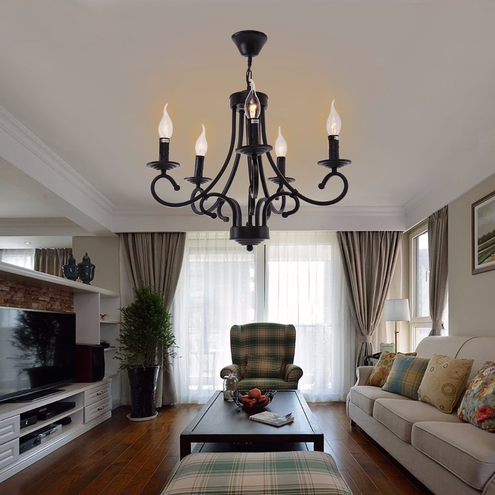 Retro Iron 5 arms Chandelier European Style Living Room Restaurant Bedroom Bar Lighting Luster Pendelleucht hghomeart chandelier european style copper chandelier living room chandelier lighting bedroom restaurant retro chandelier