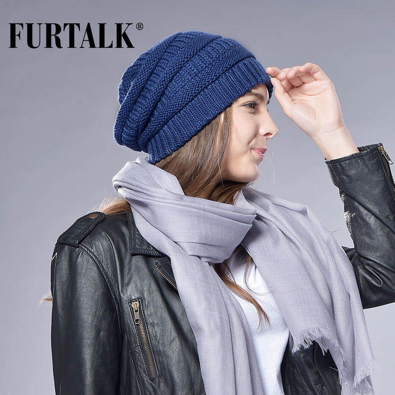 FURTALK Winter Wool Beanie Hat For Women Winter Knitted Slouchy Beanie Warm Ladies Skullies Caps Female Wool Stocking Hat