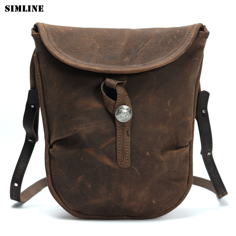 SIMLINE Vintage Casual Genuine Crazy Horse Leather Cowhide Mens Man Messenger Bag Shoulder Crossbody Bag Bags Handbag For Men