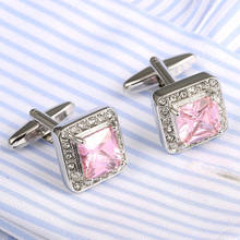 VAGULA Pink Crystal Cuff links Wholesale French Shirt Cufflinks Hot Sale Wedding Gift Gemelos 337