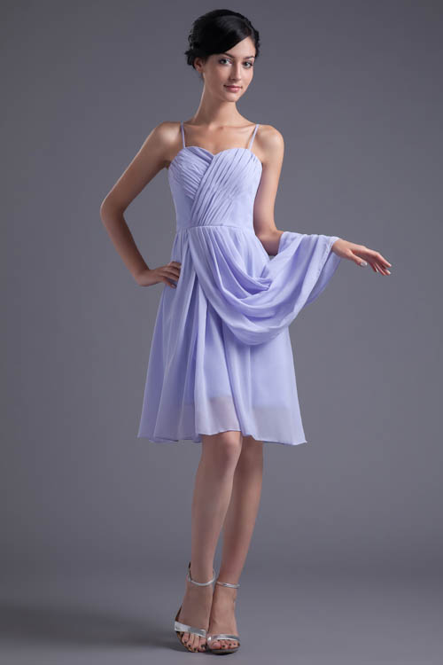 Spaghetti Straps Light Purple Short Bridesmaid Dresses Ruched Chiffon Party Dress For Wedding robe demoiselle d'honneur