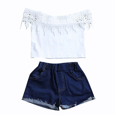 Toddler Kids Baby Girls Clothes Sets White Lace Tops Short Sleeve Denim Shorts Hot Pants Outfits Summer Clothing girls tops cute pants outfit clothes newborn kids baby girl clothing sets summer off shoulder striped short sleeve 1 6t
