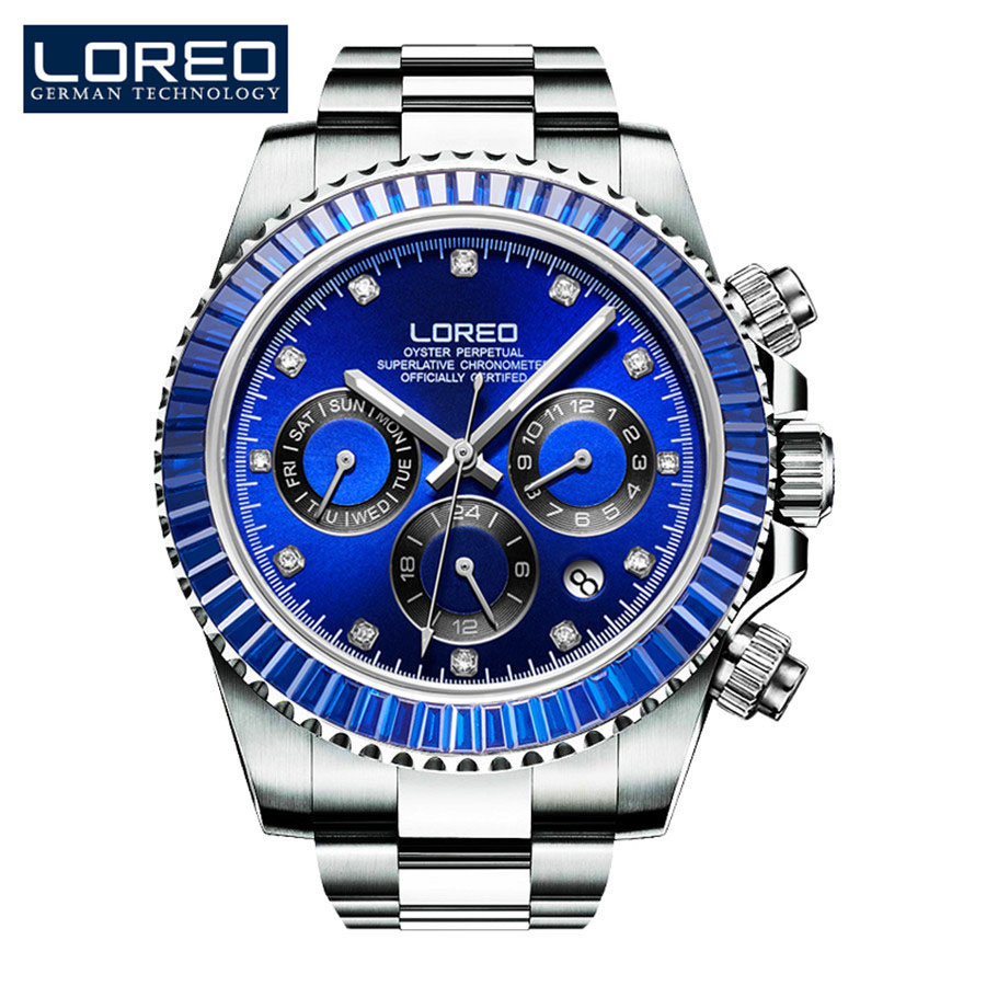LOREO Mens Watches Top Brand Luxury Diamond Automatic Mechanical Watch Stainless Steel Waterproof  Sapphire Blue Dial Watches stainless steel sapphire relogio mens watches top brand luxury waterproof 2017 switzerland automatic mechanical men watch b5005