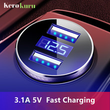 Kerokuru Original Dual USB 3.1A Fast Car Charger With LCD Display Phone Car-Charger For Iphone Xiaomi Samsung Tablet in car