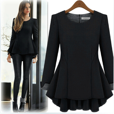 Plus Size XL-5XL Autumn Style Thick T shirt Women Chinlon Peplum Ruffles Long T shirt Tops Long Sleeve Loose T5818