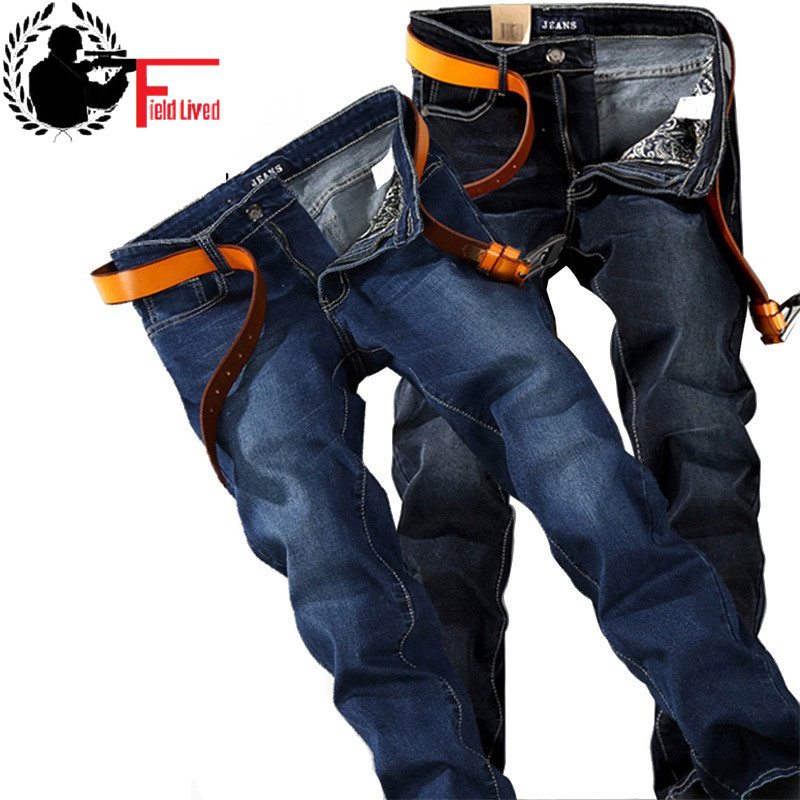 Plus Size Big 40 42 44 46 48 Men Jean Straight Fit Brand Stretch Denim Pants 2019 Fashion Blue Black Stretch Jeans Trouser Male