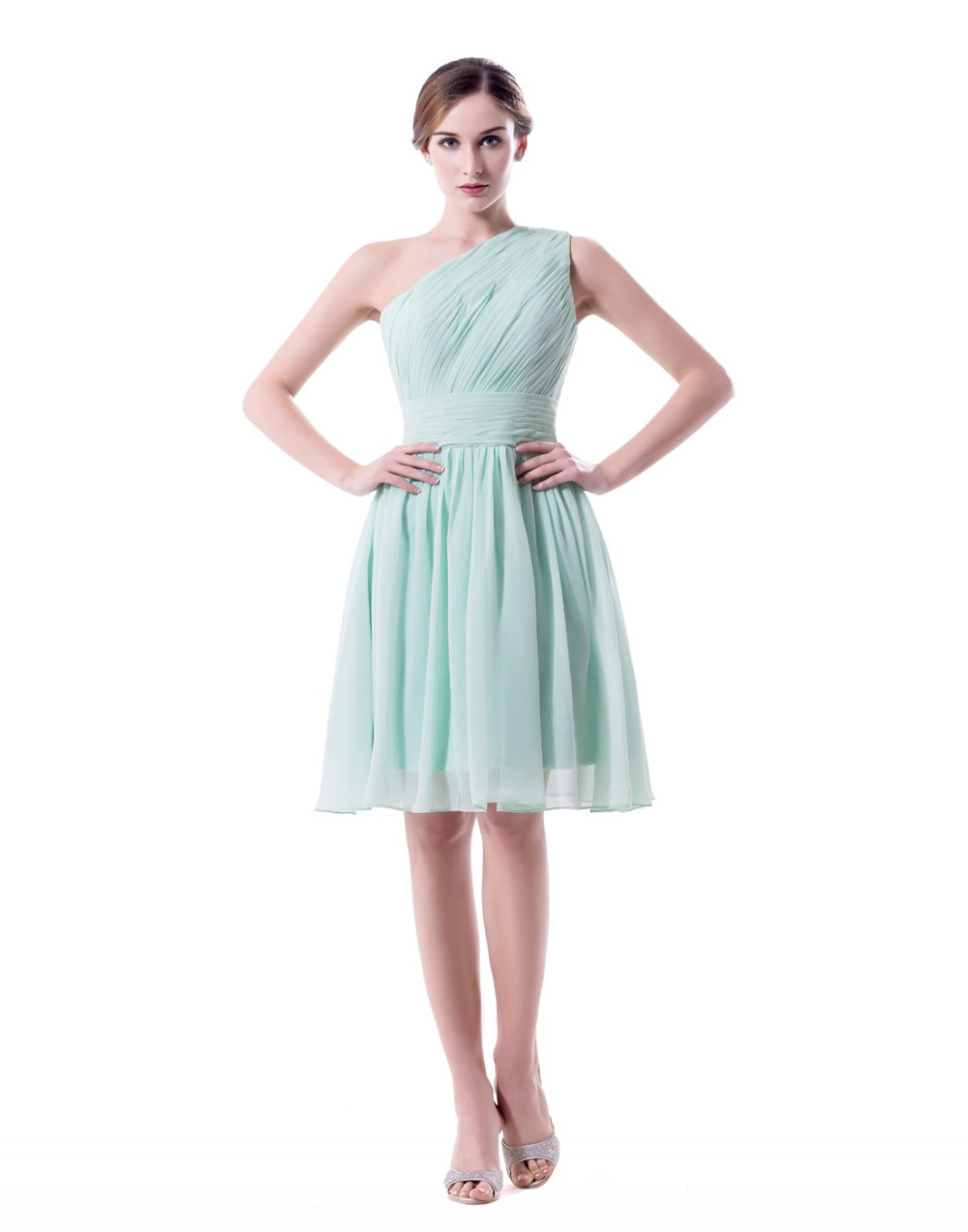 Sage mint green short bridesmaid dresses one shoulder plus for Short green wedding dresses