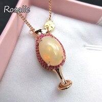 Розали, милый лимон дизайн чашки ожерелье натуральный Эфиопский Опал серебро 925 Изящные ювелирные для женщин летию вечерние подарок