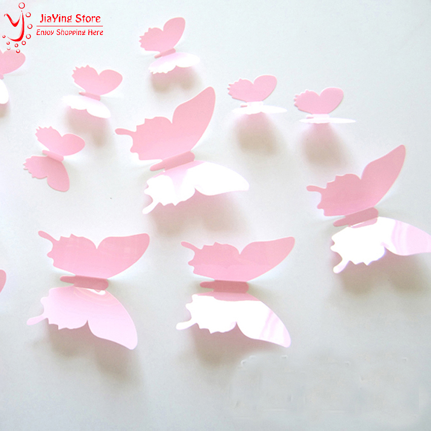 Vinyl 3D Pink Butterflies Wall Stickers Decal Removable Christmas Decoration DIY Beautiful Wedding Decoration Home Decor