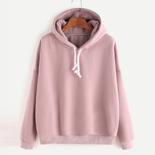Fashion Women Autumn Hoody Sweatshirt Drawstring Solid Long