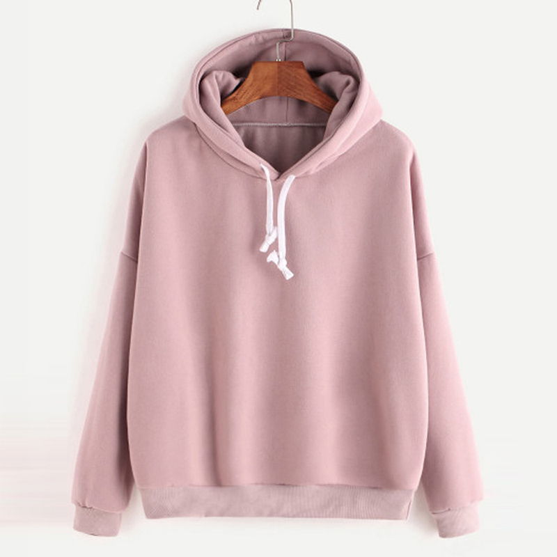 Fashion Women Autumn Hoody Sweatshirt Drawstring Solid Long Sleeve Loose Hoodies Pullover Tops Harajuku Tracksuit sudadera mujer