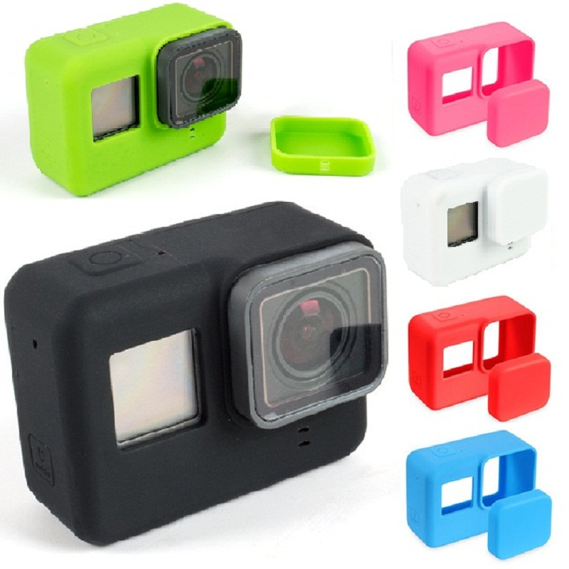 For Go Pro Action Camera Case Protective Silicone Case Skin +Lens Cap Cover For GoPro Hero 5 6 7 Black Hero CameraFor Go Pro Action Camera Case Protective Silicone Case Skin +Lens Cap Cover For GoPro Hero 5 6 7 Black Hero Camera