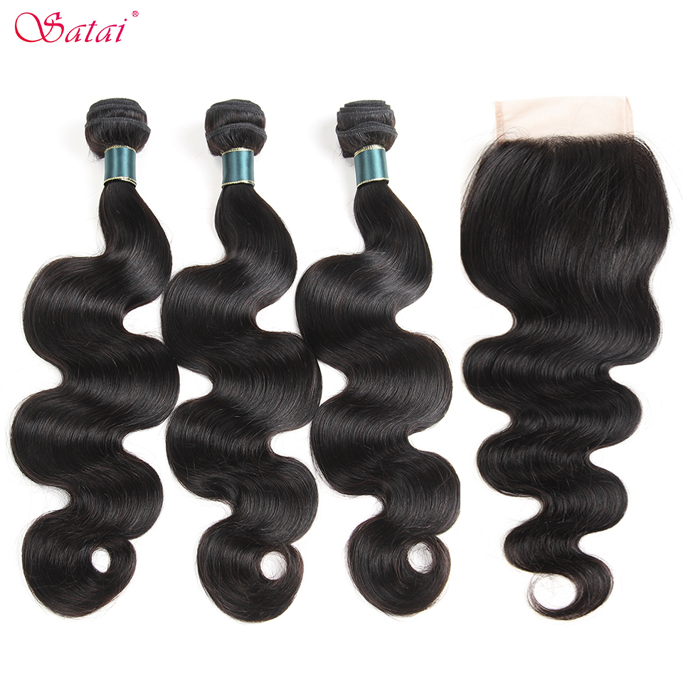 Satai Hair Malaysia Body Wave Human Hair Bundles With Closure 3 Bundles With Closure Natural Color Non Remy Hair Extension