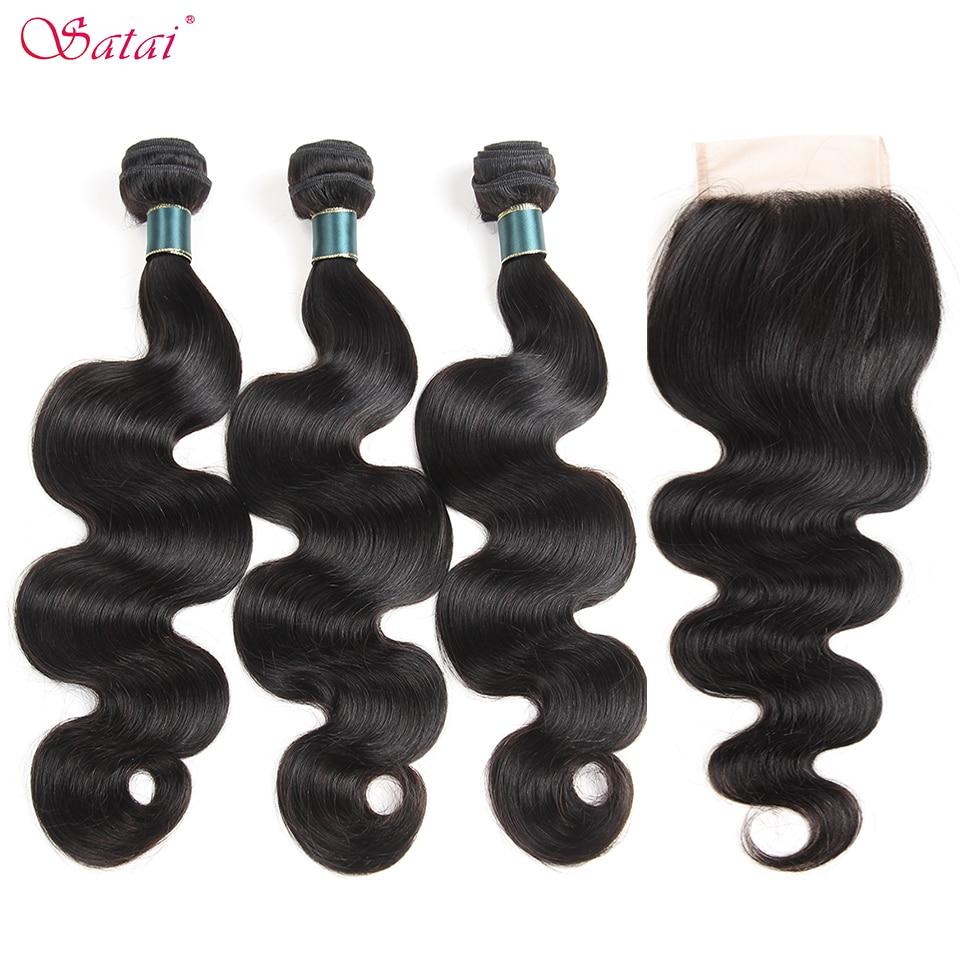 Satai Hair Malaysia Body Wave Human Hair Bundles With Closure 3 Bundles With Closure Natural Color Non Remy Hair Extension