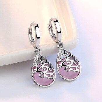 Trendy Opal Stone Flower 925 Sterling Silver Ladies Stud Earrings Original Jewelry For Women Anti Allergy Drop Shipping - discount item  19% OFF Fine Jewelry